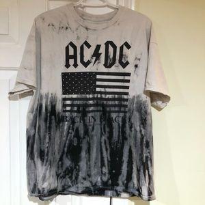 AC/DC Back In Black 1980 Tour Tie Dye XL T-Shirt